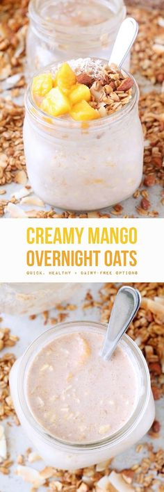 Creamy mango overnight oats made with simple healthy ingredients like rolled oats, milk (dairy or non-dairy), real maple syrup, and fresh or frozen mango (which is full of vitamin C + A & fiber). A mere five minutes of prep the night before gives you healthy grab-and-go real food breakfasts for days. (Gluten-Free with Dairy-Free Options. To make grain-free substitute chia seeds and/or coconut flakes instead of the oats.)