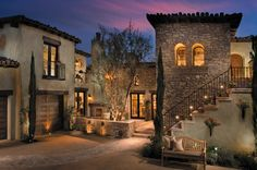 Tuscan Home with outdoor staircase