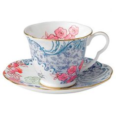 Found it at Wayfair - Wedgwood Harlequin Butterfly Bloom Blue Peony Cup and Saucer (Set of 2)
