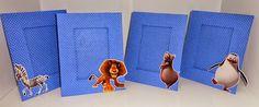 Porta Retrato Azul - Festa de aniversário tema Madagascar - Lindo Centro de Mesa e Presente para convidados.