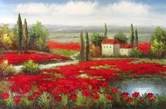 Italy Tuscany Poppy Fields Vineyard Art Oil Painting   eBay