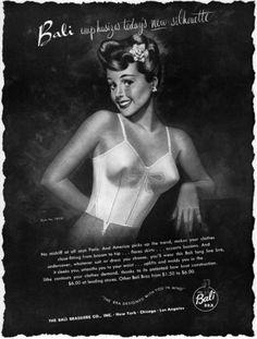 Bali Bra Brassiere Emphasizes Today's Silhouette GOOD GIRL ART Lingerie 1947 Ad