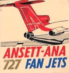 Australian Airlines, Holiday Posters, Australian Vintage, Boeing 727, International Airlines, Air Lines, Flaxseed, Aeroplanes, Air Travel