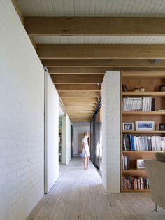 like the exposed rafters and white walls