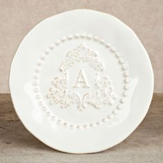 The GG Collection, 8.5 in Heirloom Salad Plate, Set of 4 - White, Crest Letter A  $76.00