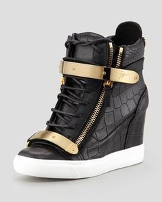 And these. Thanks.  Croc-Embossed Metal-Strap Wedge Sneaker, Black by Giuseppe Zanotti at Neiman Marcus.