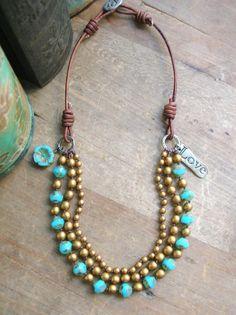 Boho statement necklace Bloomin' Love Bohemian by 3DivasStudio