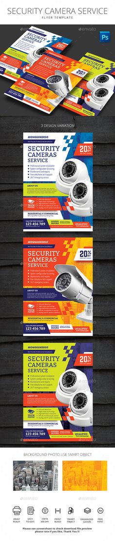 Security Camera Service - #Flyers Print Templates Download here: https://graphicriver.net/item/security-camera-service/20339791?ref=alena994