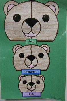 Sizing up The Three Bears ~ Teacher's Helper Kindergarten Math, Preschool, Teacher Helper, Core French, 3 Bears, Author Studies, Stories For Kids, 3 Things, Projects For Kids