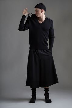 Vintage Men's Yohji Yamamoto Wide Leg Shorts and Military Sweater. Designer Clothing Dark Minimal Street Style Fashion