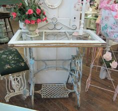 A charming new table made from pieces of old. We have the windows and the sewing machine bases at Restoration Resources in Boston. Let us help you put together this little gem! www.RestorationResources.com