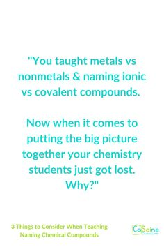 Teaching naming compounds can be frustrating when students get lost. But, if you use a step by step teaching method, everything will work out fine. In the mean time, read this chemistry blog post on how to help your chemistry students be successful in high school or home school chemistry. #namingcompounds High School Chemistry, Chemistry Teacher, In High School, Middle School, Chemical Equation, Teaching Science, About Me Blog, Students