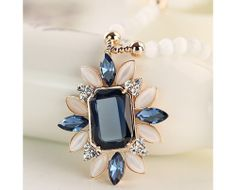Elegant Opals&Sapphires Decorated Women's Necklace-USD$ 76.95