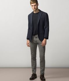 Unstructured Jacket + Jeans -  Want the silhouette-enhancing lines of a blazer but the comfort of a cardigan?  cut the bulk with a unstructured style is lighter in weight, cooler and isn't cut as close to your body, making it ideal for those of us who can't see the difference between a suit and a jacket. Given the unstructured jacket's casual lean, keep the rest of your look consistent with a pair of dark jeans or chinos