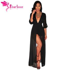 c47a86a8a59 Dear Lover New Autumn 2015 Black Half-sleeve V Neck Chiffon Maxi Rompers  Women Jumpsuit