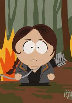 Katniss of the Hunger Games, South Park Style! Hunger Games Characters, Simpsons Characters, Hunger Games Trilogy, Movie Characters, Avatar Picture, South Park Characters, Smosh, Katniss Everdeen, Iconic Movies