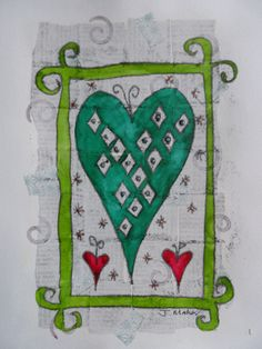 Green heart green frame. Monoprint over collage and gesso with painting and further embellishments