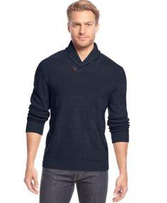 Geoffrey Beene Big and Tall Textured-Stripe Shawl-Collar Sweater