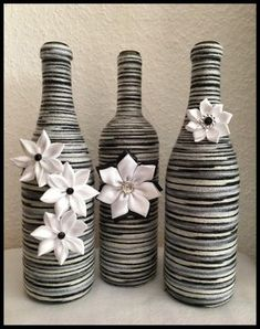 Decorative wine bottles,wine bottle decor,home decor, wine bottle home decor,decorated wine bottles,black and white bottle decor, by LilVeniceBowtique on Etsy