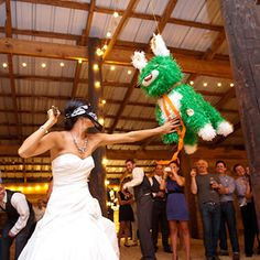 "Have the wedding theme ""the most epic wedding of the year"" use a katana sword to hit the pinata"