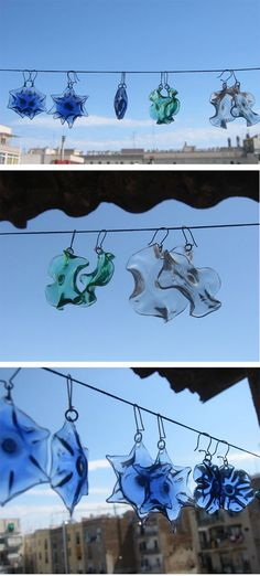 Earings made out of bottoms of plastic bottles