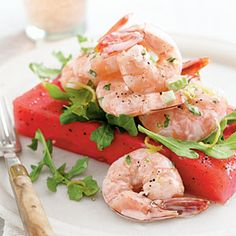 Ok, not the shrimp... but I love the rectangular slab of watermelon as a base for a summer fruit course!