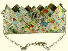 cute mickey mouse clutch - recycled vintage comics woven eco paper purse #bag #fashion #recycled
