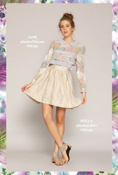 Jane Pleated Blouse and Dolly Pleated Skirt. SHOP www.whitneyeve.com