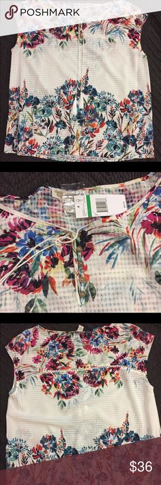 NWT Vintage America Blues floral top NWT sheer white check top with floral print, cute bottons and detailing at shoulders and across back. % polyester. Measures 21 1/2 inches pit to pit and 25 1/2 inches in length so could also fit an XL. Vintage America Blues Tops