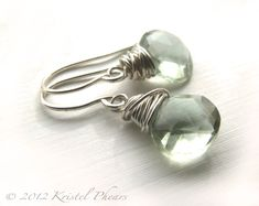 Green Amethyst earrings - sterling prasiolite mint aqua light green gemstone  dangles fashion under 25. $25.00, via Etsy.