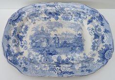 Antique Davenport Pottery Blue & White Meat Platter Circa 1815