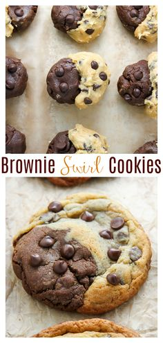 Chocolate Chip Brownie Swirl Cookies (aka Brookies) – Baker by Nature Chocolate Chip Brownie Swirl Cookies (aka Brookies) are half chocolate chip cookie and half brownie cookie! These Brookies are truly the best of both worlds! Chocolate Chip Cookie Brownies, Brownie Cookies, Yummy Cookies, Half Chocolate Chip Cookie Recipe, Brownie Cookie Dough, Best Cookie Recipes, Brownie Recipes, Baking Recipes, Easy Desserts