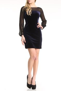 Donna Morgan Velvet Sheath With Sheer In Midnight Blue - Beyond the Rack
