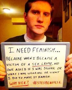 Coming from a male who was a victim of a sex crime, I completely agree with this. ~Jax #feminism #feminists #equality #sexism