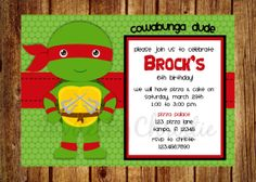You Pick Turtle Ninja Turtle Inspired by InvitesByChristie on Etsy, $12.00