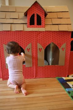 First cardboard house I made for the twins.
