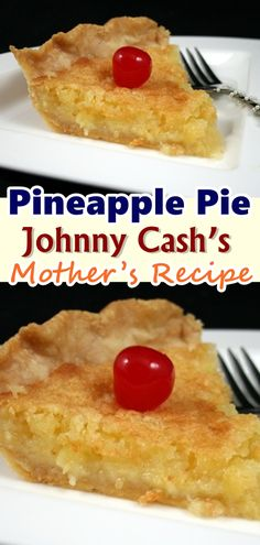 Pineapple Pie – (Johnny Cash's Mother's Recipe) This recipe of the Pineapple Pie is something that could be put together in no time. Talk about baking with less fuss and not too many ingredients, and there it is. All you need are a few ingredients that ma Köstliche Desserts, Delicious Desserts, Yummy Food, Gourmet Recipes, Cake Recipes, Cooking Recipes, Waffle Recipes, Snacks Recipes, Burger Recipes
