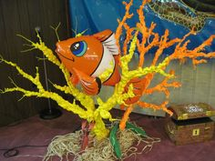 SeaQuest VBS----Coral made from tree limbs sprayed with insulation foam then spray painted