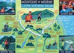 Mountains of mourne map - 'Walk of the Month' - The Daily Telegraph - Acrylic on paper - John Montgomery