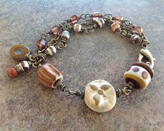 Brown and Ivory Ceramic, Lampwork, Tibetan Agate Gemstone, Glass Bead Wire Wrapped Brass Bracelet