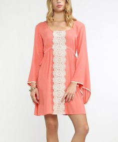 Look at this #zulilyfind! Coral Lace-Accent Flare-Sleeve Empire-Waist Dress by Flying Tomato #zulilyfinds