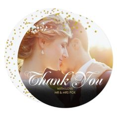 Personalised Photo Gold Confetti Script Thank You Card - wedding invitations diy cyo special idea personalize card