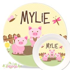 Plate - Kids Plate Set - Personalized Melamine Plate and Bowl Set ... | Kitchen plates and bowl sets | Pinterest  sc 1 st  Pinterest & Plate - Kids Plate Set - Personalized Melamine Plate and Bowl Set ...