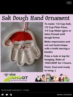 Santa Claus Handprint Ornament -- Made these with Elijah to give as Christmas presents to family!!