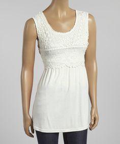 White Crocheted Sleeveless Tunic #zulily #zulilyfinds