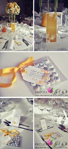 projekt ŚLUB - zaproszenia ślubne, oryginalne, nietypowe dekoracje i dodatki na wesele: Seria dodatków ślubnych do Złotej Elegancji + fotorelacja z przystrojonej sali weselnej