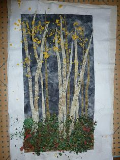 Crooked Gulley Art Quilts: Autumn Birch Trees - Confetti Method