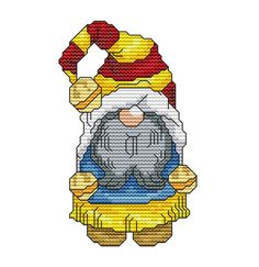 Holiday Gnome 1 Cross Stitch Pattern Fun Modern Design for Holiday Season Instant Download pdf - Santa Christmas Winter Seasons Gnome Elf