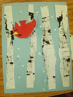 I love this! ARTASTIC! Miss Oetken's Artists: Textured Winter Birch Trees and Cardinals