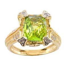 Michael Valitutti 14k Gold Peridot and 1/6ct TDW Diamond Ring (I-J, I1-I2) peridot diamond ring